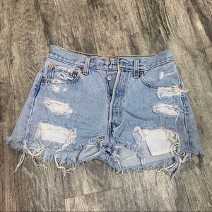 Levi's 501 Distressed Cut Off High Waist Shorts 28